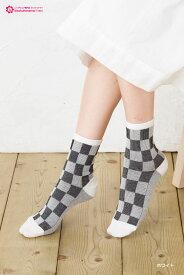 Black & White グレンチェック ロークルーソックス 靴下 ショートソックス レディース crew short socks ladies