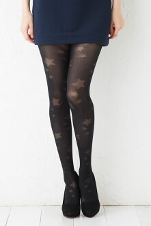 Star pattern tights black black) (M-L size) (product made in Japan) patterned stars stockings Lady's