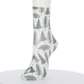 プリントソックス ハリネズミの森柄 23-25cm 綿混素材 レディース クルーソックス 靴下 stream ストリーム