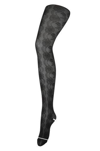 花ライン柄メッシュタイツ(M-L)(ブラック黒)レディース柄ストッキングラッセル