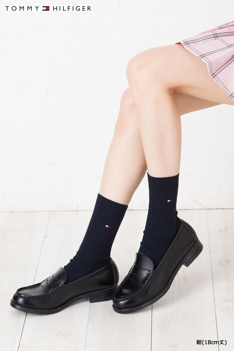 TOMMY HILFIGER スクールソックス 18cm丈 日本製 (紺・白・黒)(23-25cm) トミーヒルフィガー ワンポイント 靴下 レディース