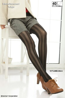 Striped tights (40 denier, black, made in Japan) ♪ pattern pantyhose sheer tights tights stockings pattern ladies stocking tights ladies!-ZB