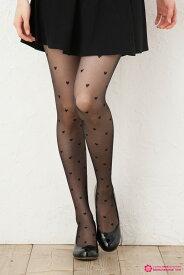 ハート柄 ストッキング (黒 ブラック・ベージュ)(20デニール・つま先スルー・日本製)(FP05) 柄タイツ シアータイツ 結婚式 stocking tights ladies