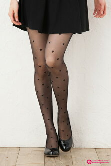 Total heart print stocking (black Black / Beige) 20 denier stumbled ahead through ♪ 1050 yen buying and selection in ♪ pattern tights pattern pantyhose sheer tights tights stockings design made in Japan wedding stocking tights ladies!-z