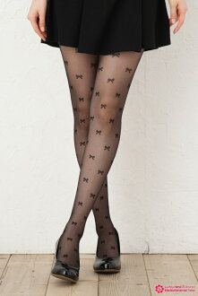 Total Ribbon print stocking (black Black / Beige) ♪ 1050 yen buying and selection in ♪ pattern tights pattern pantyhose sheer tights tights stockings design made in Japan stocking tights ladies!-z fs2gm