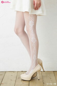 (Toe / mark gusseted) Russell white tights SYDROSE pattern (white) net tights ladies stocking net tights ladies!-ZB