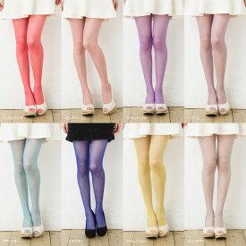 MORE 17デニール カラーストッキング (全10色)(光沢糸使用・つま先スルー・きらめく透明感)(日本製・Made in Japan) カラータイツ シアータイツ レディース stocking tights ladies