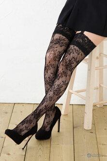 Raschel tights rose pattern Lady's (garters stockings suspender stockings) with the garter belt