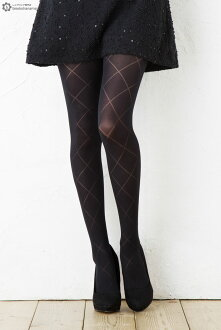 Watermarks diagram pattern tights M-L size black black Lady's stockings tights ladies pattern tights
