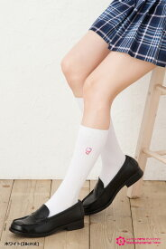 スクールソックス スター キティ 柄 28cm丈 ワンポイント刺繍 白 紺 靴下 ハイソックス 学生 ハローキティ サンリオ school socks character hello kitty sanrio