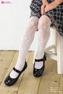 Pritina 키즈 꽃무늬 러셀 타이츠(블랙흑・화이트흰색)(일본제)♪주니어 발표회 입원식 유희회 유치원망 타이츠 넷 타이츠 color tights♪-ZB