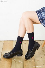 スクールソックス PLAYBOY プレイボーイ 18cm丈 ワンポイント刺繍 白 紺 黒 ショート 靴下 school socks