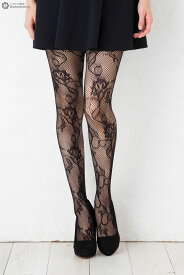蔦花柄ラッセルタイツ ブラック M-L 網タイツ 柄ストッキング レディース net tights stockings ladies