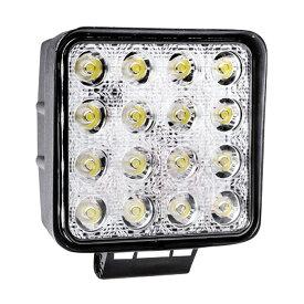 LED 投光器 ワークライト 作業灯 48W 角型 2個 スクエアタイプ 防水 防塵 12V 24V 集中 照射 3600lm 純白光 6500K 爆光 フォグランプ フォグライト 集魚灯 LEDライト _45300