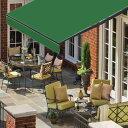 オーニングテント 幅3m×張出2m 緑/モスグリーン 黒フレーム 折り畳み 伸縮 巻き上げ式 日除けテント サンシェード ベ…