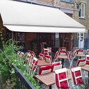 オーニングテント 幅4m×張出2.5m 白 ホワイト 白フレーム 折り畳み 伸縮巻き上げ式 雨よけ 日よけテント サンシェー…