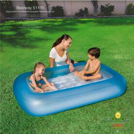 プール 家庭用 子供用 長方形 小型 ビニールプール 底 クッション 家庭用プール ベランダプール | 自宅 水遊び キッズ 幼児 子ども 男の子 女の子 おもちゃ 遊具 ベビープール 小さい 小さめ BestWay ピンク ブルー