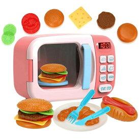 電子レンジおもちゃ 子供キッチンプレイセット ままごと ハンバーガー ホットドッグ パン 子供用 おもちゃ キッチンままごと 男の子 女の子 子ども オモチャ おままごと 2歳 3歳 4歳 5歳 6歳 プレゼント