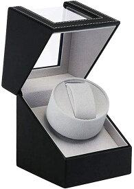 ワインディングマシーン 1本巻き ウォッチワインダー 自動巻き時計ワインディングマシーン マブチモーター 設計 新型の腕時計自動巻き上げ機、高級PU皮質、男女の腕時計は全部使えます (ブラック)