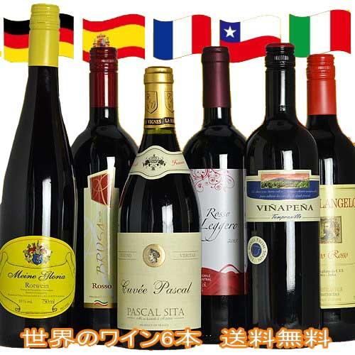 ワインセット ジ・アクアヴィタエ デイリーワイン 6本セット フランス イタリア スペイン ドイツ チリ 世界の ワイン 飲み比べ