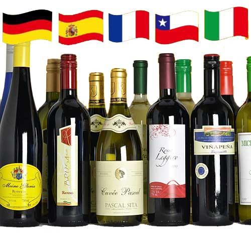 ジ・アクアヴィタエ デイリーワインセット フランス イタリア スペイン ドイツ チリ ワイン 12本 飲み比べ