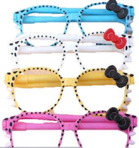 DCMR 文具 【 お楽しみ 2 色 セット 】カラフル メガネ トイ ボールペン 眼鏡 柄 部分 が ボールペン ♪ おしゃれ に 使えて 便利 リボン