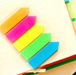 文具カラフル防水プラスチック付箋スライド式【5枚組小】矢印ポップカラーナチュラルテイストポストイット
