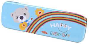 DCMR 【 1 点 青 】 筆箱 ペンケース 缶 タイプ ポップ カラー シンプル キャラクタ アニマル HAPPY
