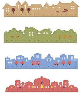 DCMR 文具 【 1 点 お楽しみカラー柄 】世界 の 町並み 定規 ルーラー ポップ ナチュラル カラー シンプル イギリス ハウス