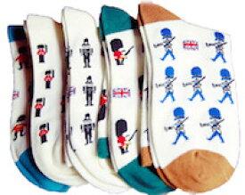 DCMR 【4足セット】ブリティッシュ クラシック 兵隊 さん ポップ デザイン 靴下 中長 ボーイズ ソックス M