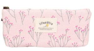 DCMR 文房具 ペンケース 筆箱 ファスナー 花柄 フラワー お花畑 シンプル デザイン 1点 ピンク