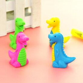 DCMR 文具 【 1個 お楽しみ色 】恐竜 ジュラシック カラフル 3D トイ リアル 消しゴム カラフル イレイサー