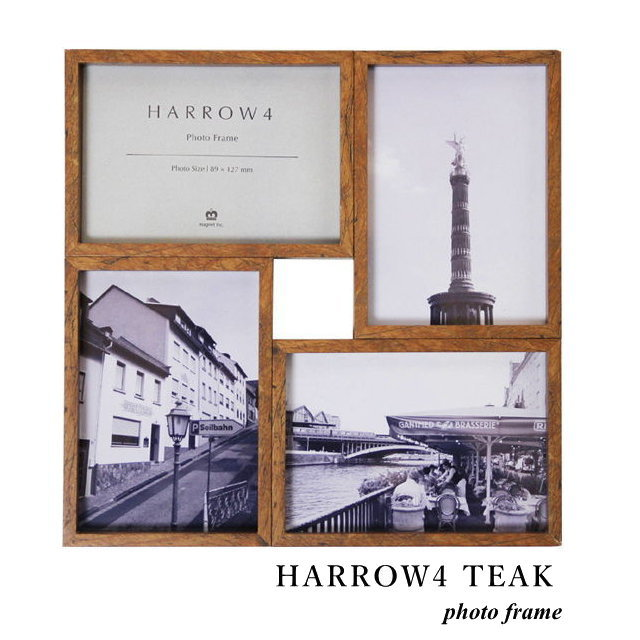 フォトフレーム ハロウ4 HARROW4 TEAK L版 写真立て 複数 壁掛け スタンド兼用