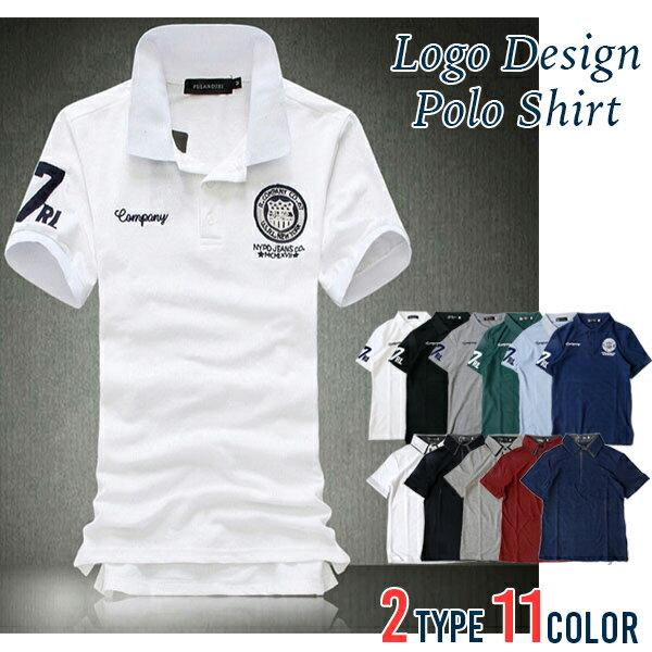メール便1送料無料 6カラーワッペンデザインポロシャツ メンズ 半袖 父の日 ゴルフ