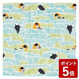 【全品P5〜10倍】山田繊維 むす美 風呂敷 こはれ ねこととり グリーン 70cm 21414-214