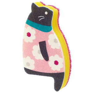 おすわりスポンジ ネコ A・花柄 ピンク K575A マーナ