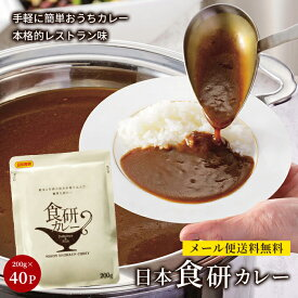 日本食研 カレー 食研カレー レトルトカレー 中辛 セット ひと手間 レシピ 簡単 アレンジ 保存 非常食 コロナ対策 備蓄 送料無料 200g 40袋