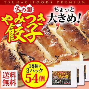 【送料無料】火の国やみつき餃子 18個入り3パック ツナギフーズ おつまみ ぎょうざ 大きめ