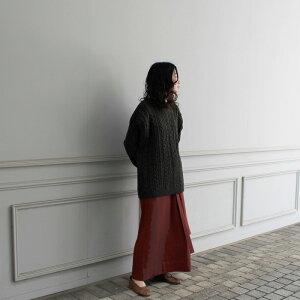 【2019A/W】【PHLANNELフランネル】woolyakcableknitvestkahki/black女性レディースニット