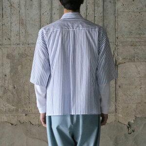 【bukhtブフト】シャツLOOSESHIRTSS/S-100/2STRIPEFAB-BLUESTRIPEブフト半袖シャツ