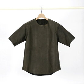 【SALE 50%OFF】【shama シャマ】LEATHER T-SHIRT KHAKIメーカー希望小売価格\39000 税抜