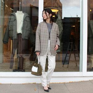 【PHLANNELフランネル】doubleclothcollarlessjacketcheckジャケットレディース女性