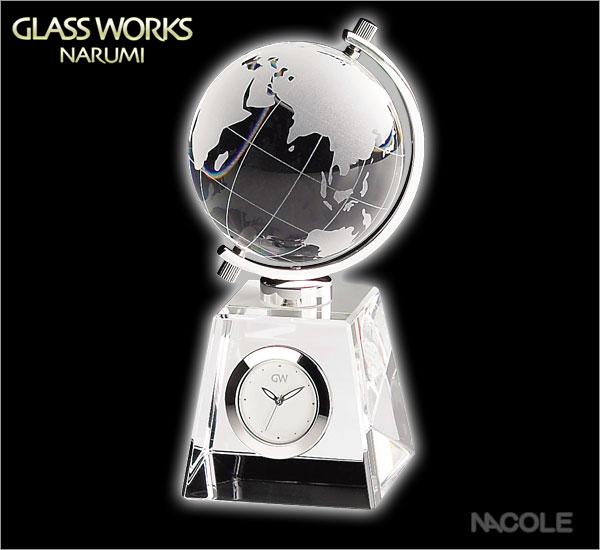 グラスワークスナルミ 置時計 グローブ クロック)(内祝い 結婚内祝い 出産内祝い 新築祝い 引き出物)