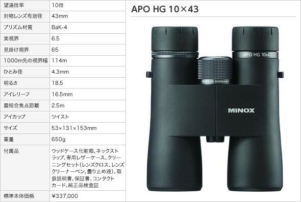 双眼鏡 ミノックス APO HG10×43(アウトドア用品 アウトドアグッズ キャンプ用品 便利グッズ 精密機器 正規品)
