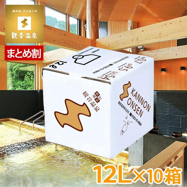 観音温泉水 12L(1箱)(お買い得10個セット)(飲む温泉 国産天然ミネラルウォーター pH9.5 天然シリカ水 超軟水 硬度0.7 備蓄用 バックインボックス)