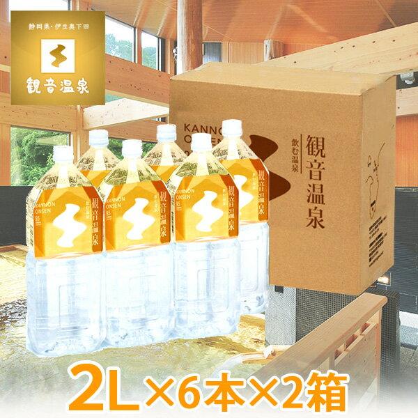 観音温泉水 ペットボトル 2L×6本入り×2箱=計12本(ミネラルウォーター 2リットル 飲む温泉水 飲泉 天然シリカ水 超軟水 備蓄用 強アルカリ天然水)
