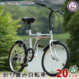 折りたたみ自転車 20インチ シルバー シマノ製6段ギア ACTIVE911 ノーパンクFDB20 6S(メーカー直送 パンクしない自転車 6段変速 折畳み自転車 ミムゴ おしゃれ 人気 スチール製 折り畳み式自転車 ノーパンクタイヤ)