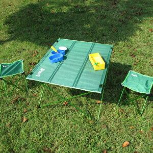 アルミコンパクトセット チェア&テーブル グリーン アウトドアグッズ キャンプ用品 ピクニック 椅子 机 イス ランチ 車中泊 人気 一人キャンプ 野外 防災グッズ mimugo メーカー直送 ZERO-ONE FIEL