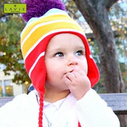 あったかニット帽(耳あて付)レインボー(ゆうパケット(メール便)送料無料)(おしゃれ 可愛い キッズ 子供用 ボンボン付き 耳当て ニット帽子 キュート 防寒対策 冷房対策 ラヴィニューヨーク LAVIE NEWYORK ラビニューヨーク クリスマスプレゼント)