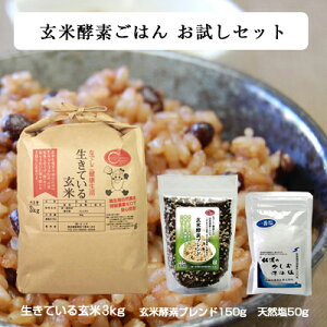 【玄米酵素ごはんお試しセット 生きている玄米3kg + 玄米酵素ブレンド150g + 天然塩50g】初回限定1セットまで/送料無料(沖縄県を除く)☆令和2年産☆化学肥料を使用せず自然農法を採用した